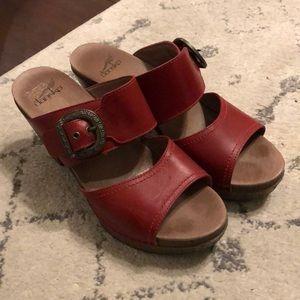 Dansko two strap red heeled sandal